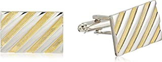 Men's Silver and Gold Stripe Cuff Link, One size