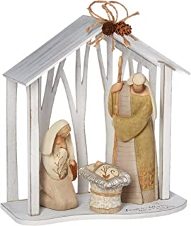 """Enesco Legacy of Love by Gregg Gift Holy Family in Creche Wood and Stone Resin Figurine, 13"""""""