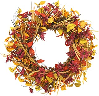 VGIA 22 inch Artificial Fall Wreath Berry Wreath Silk Flower Red Berry Wreath for Front Door