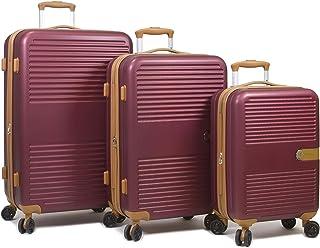 Dejuno Garland Hardside 3-Piece Spinner Luggage Set With USB Port, Burgundy