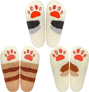 Calcetines de 3 pares de pantuflas para mujeres, calcetines de invierno para el interior Calcetines difusos para el hogar suaves y suaves Calcetines para dormir con garras de gato suaves