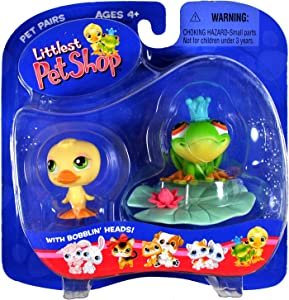 Hasbro Year 2004 Littlest Pet Shop Pet Pairs Series Collectible Bobble Head Pet Figure Set - Yellow Baby Duck and Green Frog