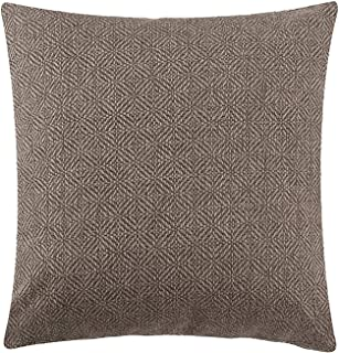 Jepeak Burlap Linen Throw Pillow Cover Rhombus Pattern Cushion Case, Solid Thickened Farmhouse Modern Decorative Square Luxury Pillow Case for Sofa Couch Bed (Coffee, 18 x 18 Inches)