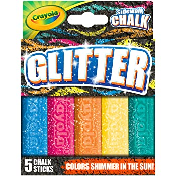 Crayola Outdoor Chalk, Glitter Sidewalk Chalk, Summer Toys, 5 Count