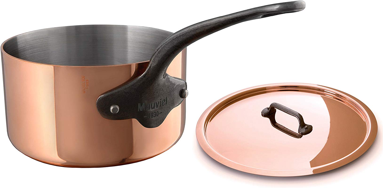 Mauviel 6540 15 M Heritage M250C 2 5mm Copper Saucepan With Lid 1 2 Quart