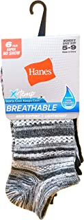 Hanes Women's 4B1/6 X-Temp Comfort Fit Ankle Athletic Socks (Pack of 6), Size 5-9