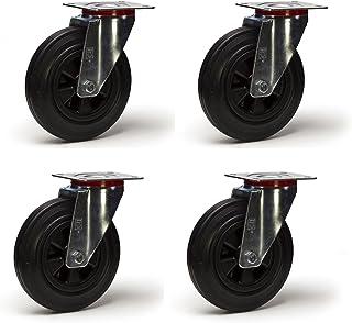 Zwenkwielen van rubber, zwart, 125 mm, 300 kg