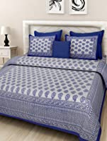 DORMIR TEX PRINT; WHERE DESIGN MATTERS Paisley Cotton 150 TC Double Bedsheet with 2 Pillow Cover- (Blue, King)