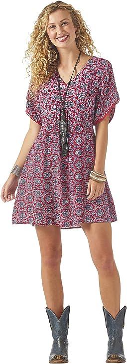 Short Sleeve Dress with V-Neck