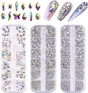 FITDON Nail Rhinestones Set, Multi-shapes Glass Crystal AB Rhinestones & Crystals AB Nail Art Rhinestones & Clear Nail dia...
