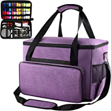 Sewing Machine Case - Universal Travel Tote Bag Contain Sewing Kits Compatible for Singer, Brother, Janome Sewing Machines. Sewing Machine Bag with Multiple Storage Pockets and Shoulder Strap-Purple