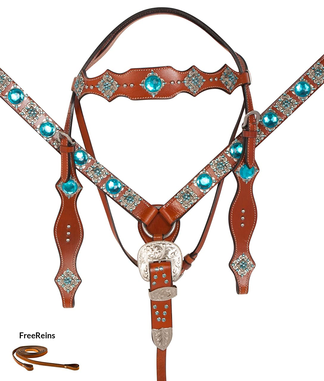 AceRugs Turquoise Blue Western Show Parade Silver Breast Collar REINS Headstall Crystal Bling Barrel Racer Leather Horse TACK Package