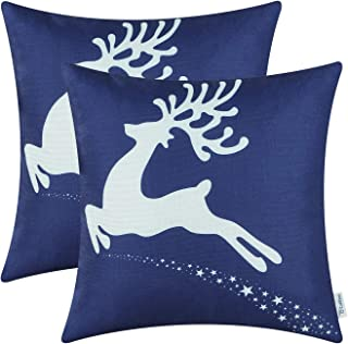 Pack of 2 CaliTime Soft Canvas Throw Pillow Covers Cases for Couch Sofa Home Decoration Christmas Holiday Reindeer with St...