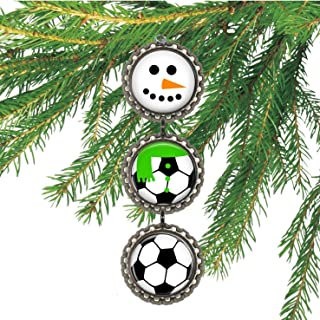 Boys Soccer Bottlecap Christmas Ornament