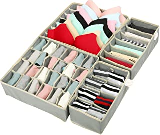 Zonyon Drawer Divider, Foldable Fabric Closet Organizer,Dresser Organizer,Storage Box,Room Organization for Underware,Bra,Ties,Belts,Socks,Tank Tops, Lingerie,Closet,Wardrobe,4 Sets, Grey
