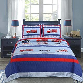 Cozy Line Navy/Blue/Red Boy Cotton Bedding Quilt Set, Coverlet Bedspread (Fire and Police Rescue, Queen - 3 Piece)