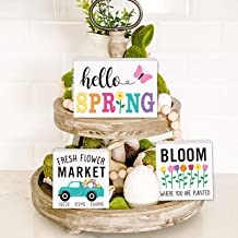Huray Rayho Party Spring Tiered Tray Decorations Farmhouse Easter Mini Wood Decor Fresh Flower Market April Home 3D Signs ...