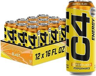 C4 Energy Carbonated Zero Sugar Energy Drink, Pre Workout Drink + Beta Alanine, Sparkling Tropical Blast, 16 Fl Oz (Pack o...