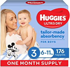 HUGGIES Ultra-Dry Nappies, Boys, Size 3 (6-11kg), One-Month Supply, 176 count
