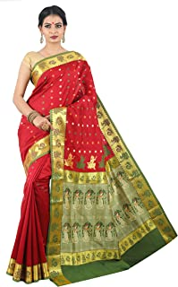 Misal Sarees Women's Handloom Baluchari Saree Bengal Origin with Blouse Piece Latest Indian Ethnic Design (Maroon-Green)