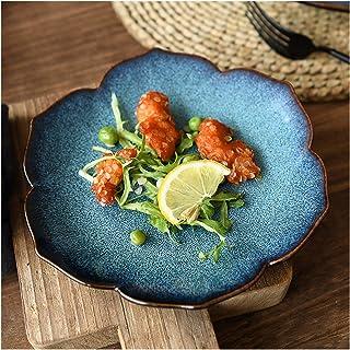 Dinner plate الإبداعية موري فتاة السيراميك أدوات المائدة الطاووس الأزرق لوتس لوحة الغذاء الغربي لوحة ستيك لوحة سلطة لوحة ا...