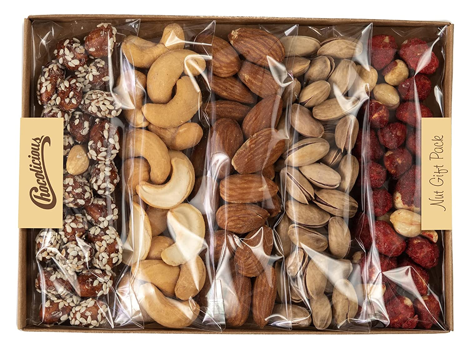 Nuts Holiday Gift Basket, 5 Variety Personal Nut Tray, Gourmet Gifts, Healthy Food Tray Gifting Idea, Snack Box for Men and Women.