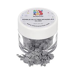 Blacksherbet Edible Glitter Sparkles (5 Grams) for Cakes, Drinks, Cupcakes, Strawberries, Chocolate, Cake Pops, Decorating. Food Grade Coloring Glitter & Dusts. Kosher (Silver)