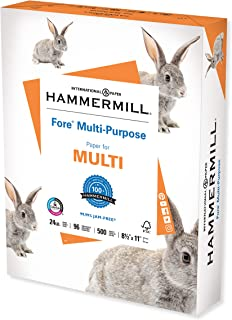 Hammermill Printer Paper, Fore Multipurpose 24 lb Copy Paper, 8.5 x 11 - 1 Ream (500 Sheets) - 96 Bright, Made in the USA,...