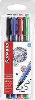Stabilo PointMax Fineliner Nylon-tip Pen, Basic Colors, 0.8 mm - 4 Pen Set