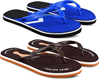 StyleArt Women's Combo of 2 Pair Flip Flops, Blue & Brown EVA Slipper for Women, Blended Combination of Luxury Style, Ligh...