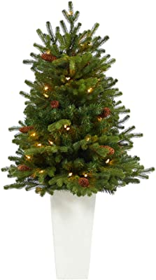 3.5ft. Yukon Mountain Fir Artificial Christmas Tree with 50 Clear Lights and Pine Cones in White Planter