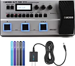 BOSS GT-1B Bass Effects Processor Bundle with Blucoil Power Supply Slim AC/DC Adapter for 9 Volt DC 670mA and 5-Pack of Reusable Cable Ties