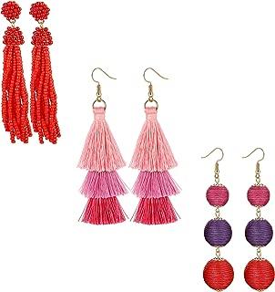 2-12Pairs Bohemian Tassel Dangle Earrings Drop Layered Tiered Thread Tassel Statement Hoop Earrings Set for Women Girls Gifts