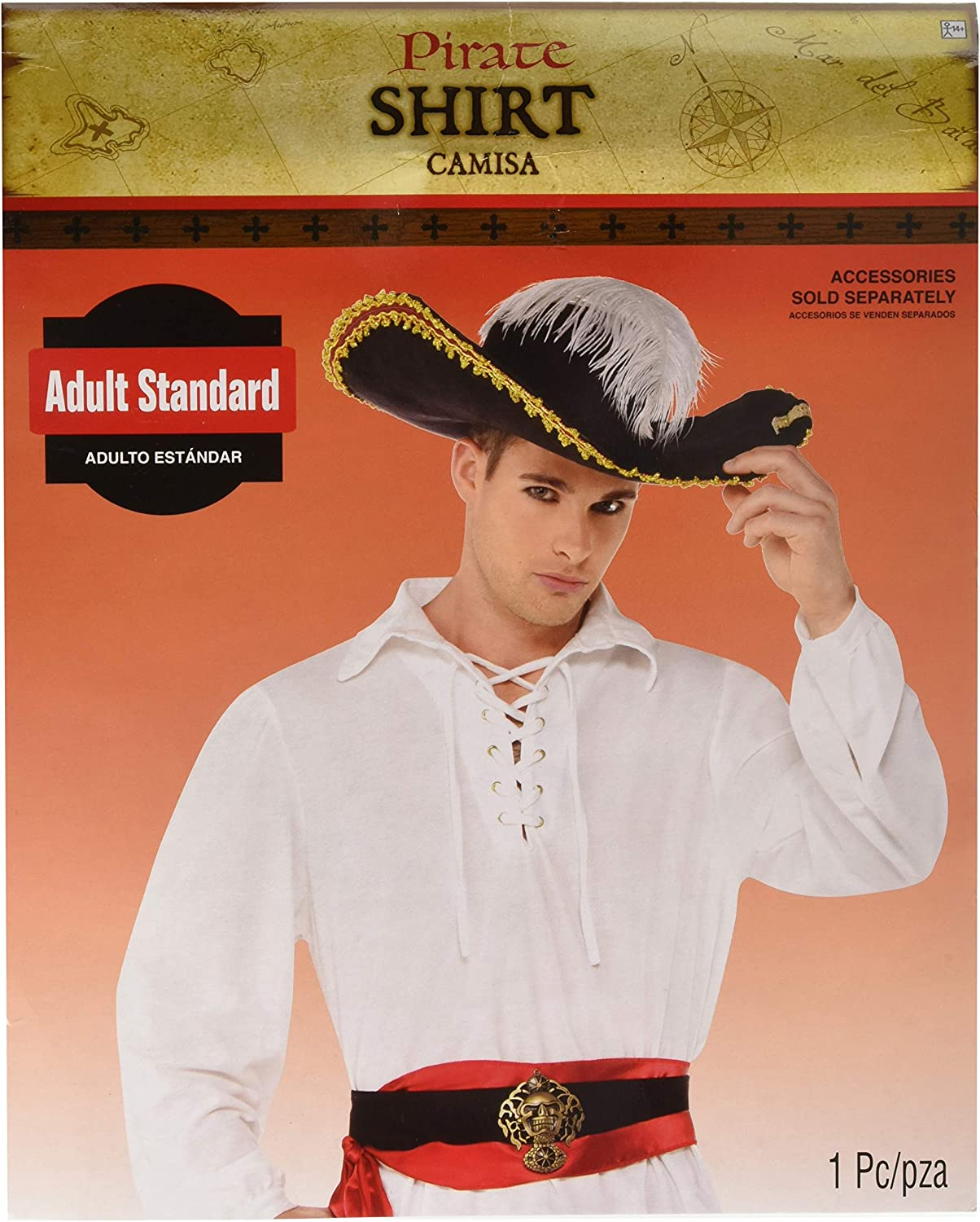 White Pirate Shirt Costume  Standard  Chest Size 42 by Amscan