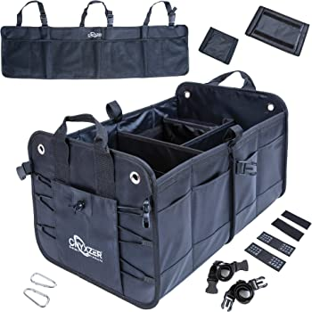 ONYXZER Trunk Organizer for Car and SUV Including Free Backseat Trunk Organizer | Heavy Duty Collapsible Trunk Storage Organizer | Stainless Hooks - Straps and Non-Slip Waterproof Bottom