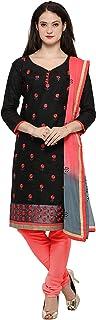 Rajnandini Women's Black Bombay Cotton Jacquard Embroidered Semi-Stitched Salwar Suit(JOPL1009_Black_Free size)