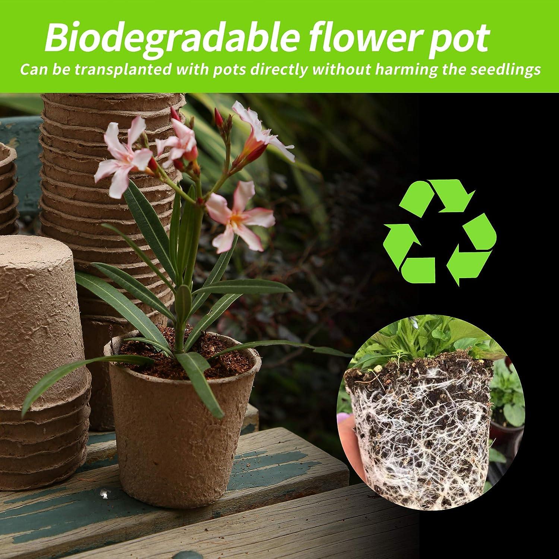 8,2 x 7,8 x 5,7 cm Herefun 100 pezzi Vasi Biodegradabili Rotondi Contenitori per Piante da Giardinaggio con Etichette Accessori Giardinaggio Vasi per Semi in Fibra Biodegradabile