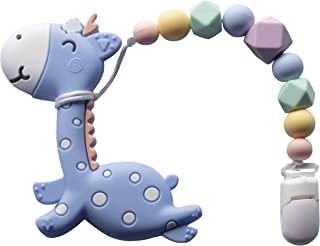 Avril Teether Toy - Cute and Healthy Giraffe Design, Calming Toy, Teething Pain Relief, Baby Teething Toys. (Blue)