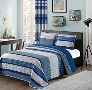 Blue and Gray Modern Plaid Bedspread and Pillow Sham Set   Matching Curtains Available! (King/Cal King Size)