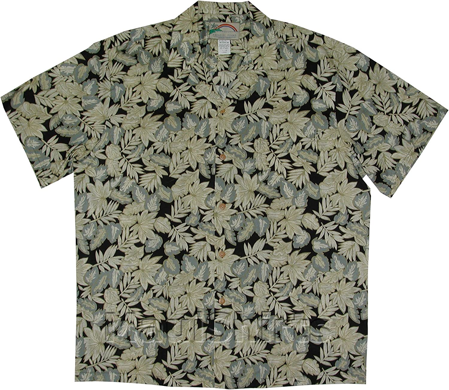 Tropical Leaves Men's Hawaiian Aloha We OFFer at cheap prices Shirt Cotton Sacramento Mall Lawn Vintage