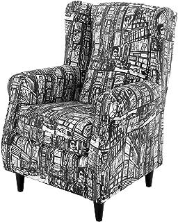 HOGAR TAPIZADO Butaca sillón orejero Nadia tapizado en Tela Estampada New York Pop B/N 100 x 72 x 74