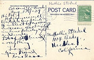 Post Card With 1938 Postage Stamp Scott #804 Washington- Green 1 Cent