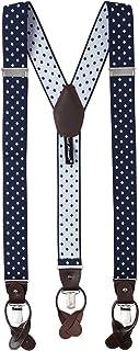 Jacob Alexander Men's Large Dots Y-Back Suspenders Braces Convertible Leather Ends Clips