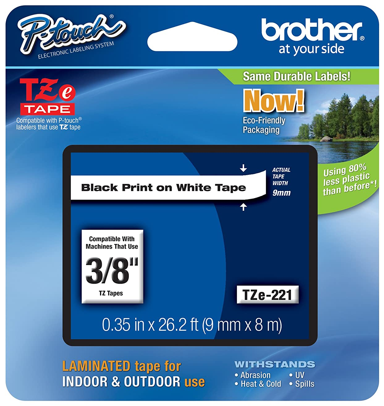 Brother Genuine P-touch TZE-221 Tape, 3/8