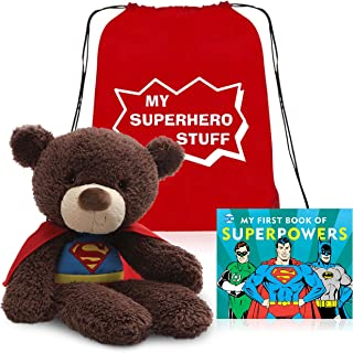 Superman Teddy Bear and Toddler Board Book Set Presented in My Superhero Book Toy Tote Bag for Convenient Storage Ready for Giving
