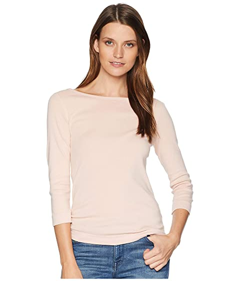 THREE DOTS 100% Cotton Heritage Knit 3/4 Sleeve British Tee, Pink Pearl