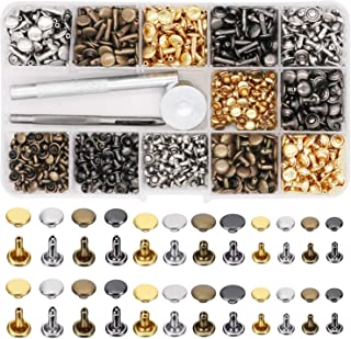 480 Sets Leather Rivets, 3 Sizes 4 Colors Double Cap Rivet Tubular Metal Studs with Setting Tools for DIY Leather Craft, Clothes, Shoes, Bags, Belts Repair Decoration