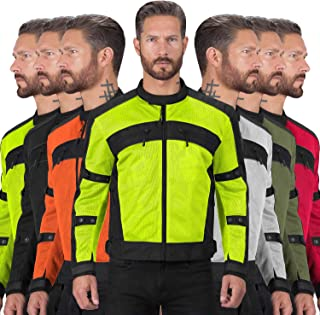 Motorcycle Jackets for Men Viking Cycle Ironside Men's Mesh Motorcycle Jacket (XXX-Large, Hi-viz)