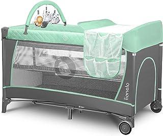 Lionelo Flower Reisebett Baby Laufstall Baby mit Seiteneingang Wickeltisch zwei Matratzenaufhängungshöhen Spielzeugbogen mit Spielfiguren Rollen Tragetasche Türkis