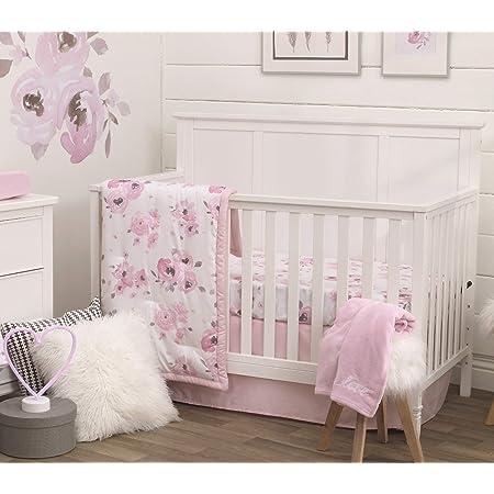 Rose//Gris//Blanc//Bleu Nojo Aquarelle Cerf 4 Piece Nursery Crib Bedding Set